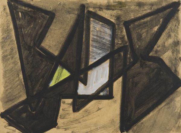 Enrico Bordoni : Senza titolo  - Tecnica mista su cartoncino - Asta Arte Moderna e Contemporanea, '800 e'900 - Fabiani Arte