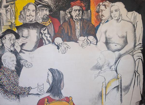 Renato Guttuso - Conversazione con i pittori (Colazione con la dama di Cranach)