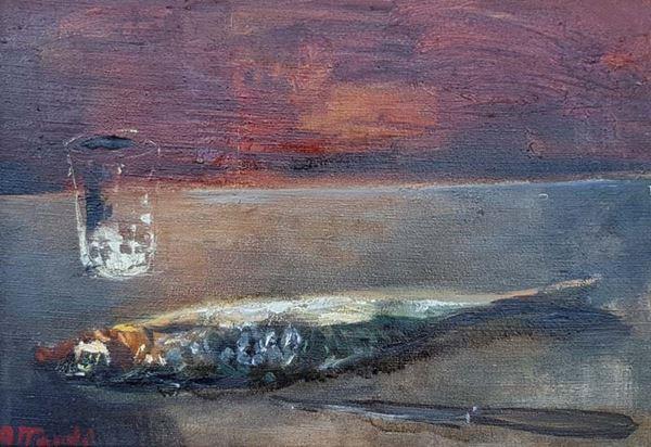 Ugo Attardi - Natura morta con pesce