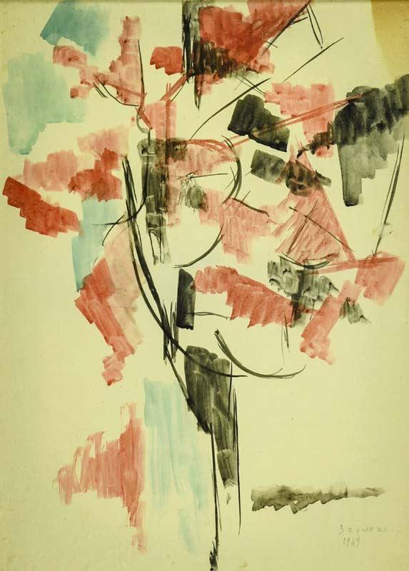 Enzo Brunori : Alberi 1949 - Acquerello su cartoncino applicata su tela - Asta Arte Moderna e Contemporanea, '800 e'900 - Fabiani Arte