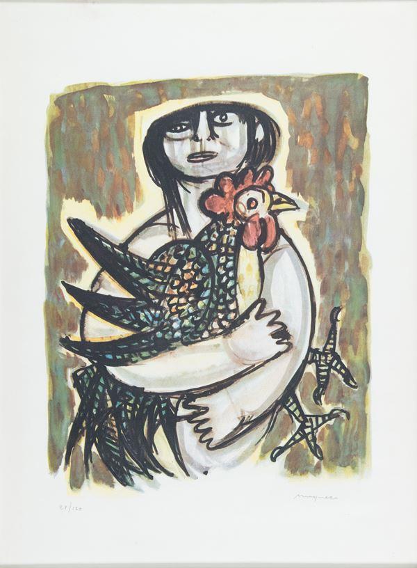 Giuseppe Migneco - Donna con gallo