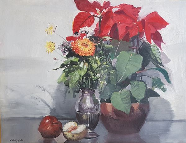 Mario Madiai - Vaso di fiori con mele