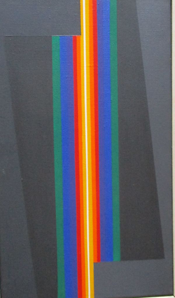 Horacio Garcia Rossi : Coleur Electrique Luminose  (2006)  - Olio su tela, cm. 33,5x19 - Asta Asta a tempo di Arte Moderna e Contemporanea  - Fabiani Arte