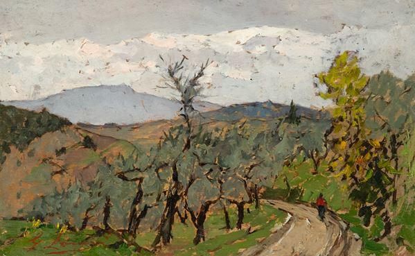 Giovanni Lomi - Paesaggio con figura