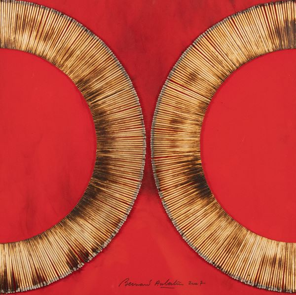 Bernard Aubertin - Dessin de feu sur table rouge