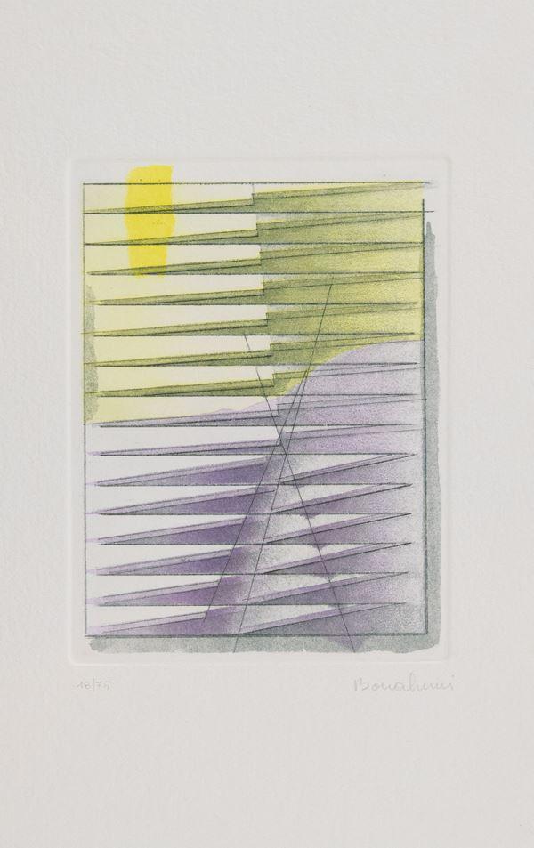 Agostino Bonalumi : Senza titolo  - Acquaforte di cm. 19,5x15 - Asta Arte Moderna e Contemporanea - Fabiani Arte