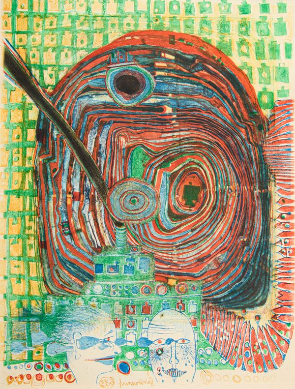 "Friedensreich Hundertwasser - Senza titolo da ""Paroles Peintes"""