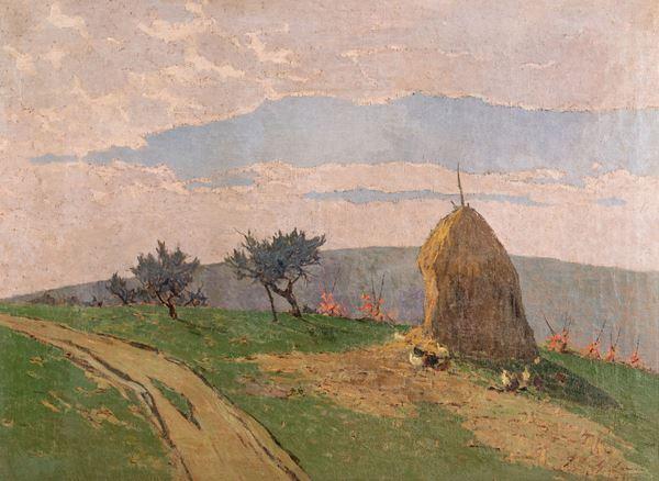 Giovanni Lomi - Paesaggio con pagliaio e polli