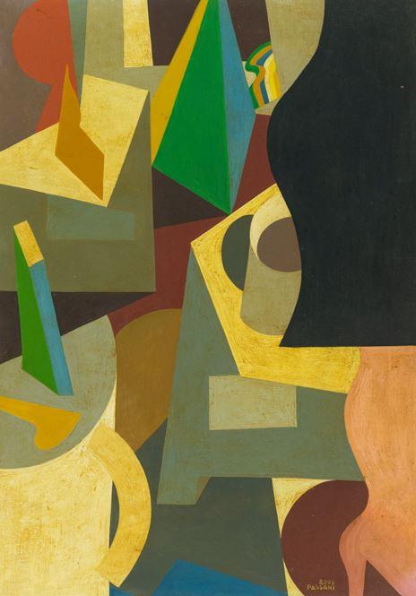 Gualtiero Passani : Donna in un interno 2008 - Acrilico su cartoncino - Asta Arte Moderna e Contemporanea - Fabiani Arte