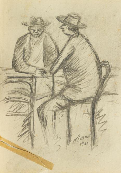 Ottone Rosai - 2 Uomini seduti
