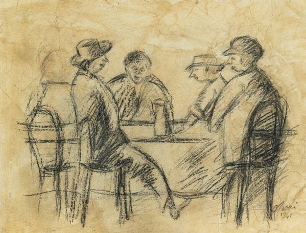 Ottone Rosai - 4 Uomini al bar