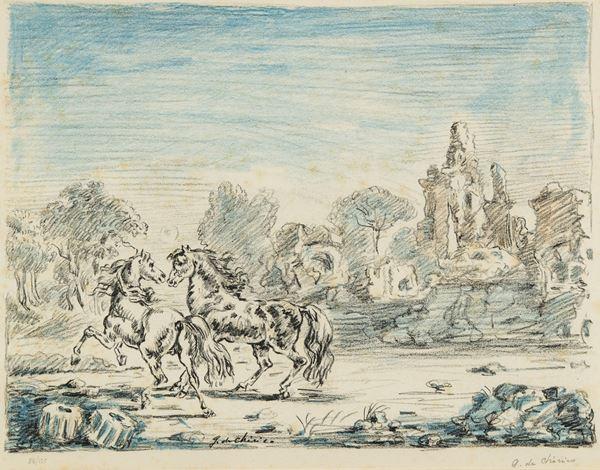 Giorgio De Chirico - Cavalli e rovine