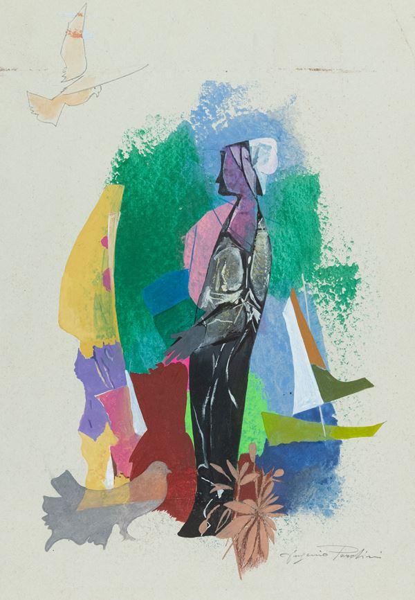 Eugenio Pardini : Figura femminile  - Tecnica mista su cartoncino - Asta Arte Moderna e Contemporanea, '800 e'900 - Fabiani Arte