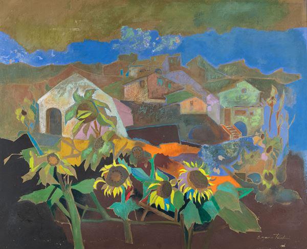 Eugenio Pardini - Paesaggio con girasoli