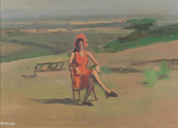 Giovanni March - Paesaggio con figura alle spianate da Nello (Castiglioncello)
