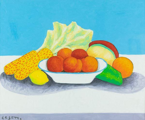 Giuseppe Cesetti - Natura morta con limoni e zucche