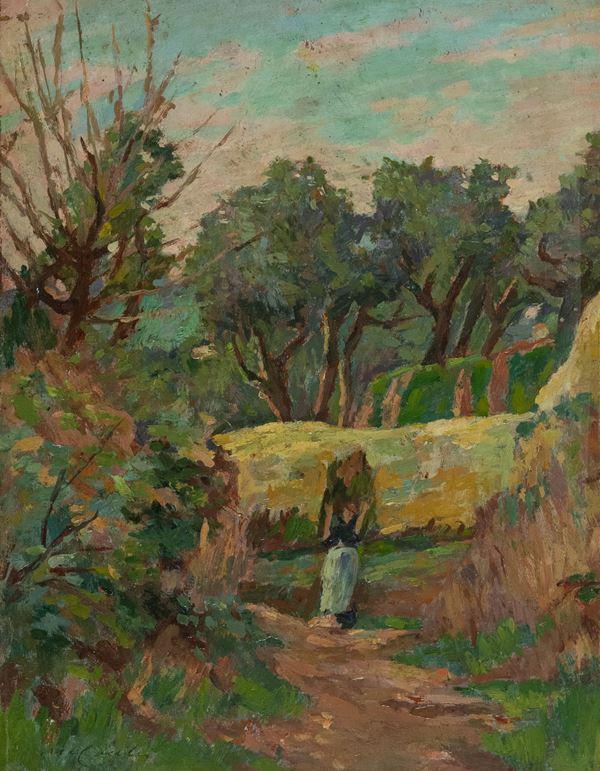 Mario Cocchi - Paesaggio con contadina