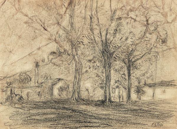 Arturo Tosi - Paesaggio con case