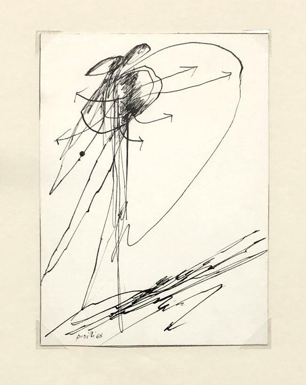 Achille Perilli - Disegno per mutuazioni c16
