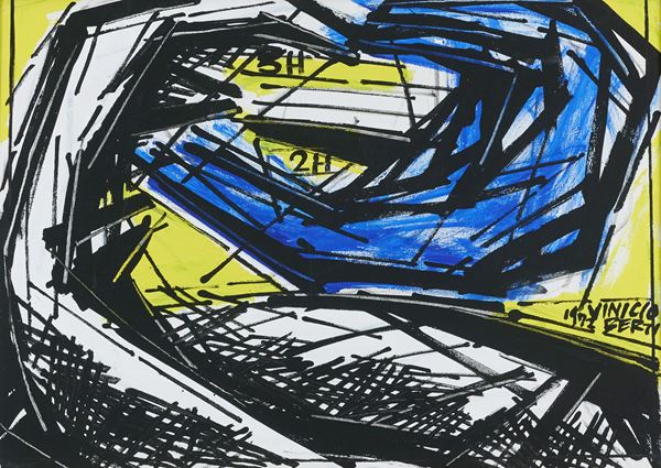 Vinicio Berti : Racconti simultanei 3H-2H//1973 1972 - Olio su tela - Asta Asta 86 di Arte Moderna e Contemporanea - Fabiani Arte