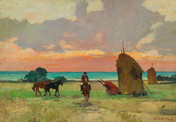 Renato Natali - Marina con cavalli