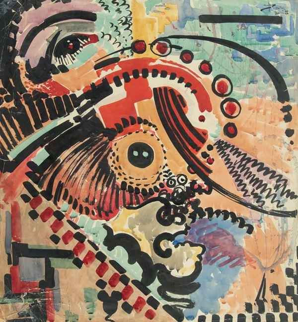 Josef Peeters - Composizione futurista astratta - Moto di volto stilizzato con occhi