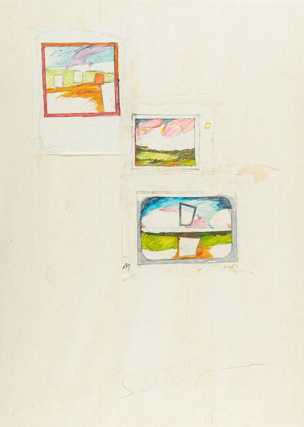 Mario Schifano : Senza titolo 1974-78 - Pennarelli, grafite e collage su carta - Asta Arte Moderna e Contemporanea, '800 e'900 - Fabiani Arte