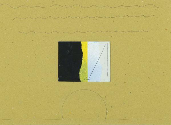 Walter Fusi : Senza titolo Anni '80 - Tecnica mista su carta gialla - Asta Arte Moderna e Contemporanea, '800 e'900 - Fabiani Arte