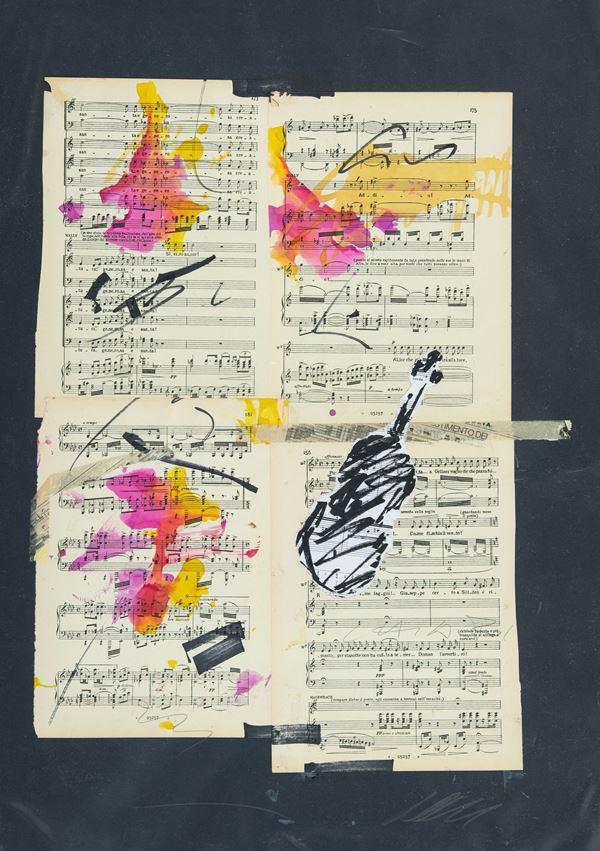 Giuseppe Chiari : Spartiti 2001 - Tecnica mista su spartiti musicali applicati su cartoncino - Asta Arte Moderna e Contemporanea, '800 e'900 - Fabiani Arte