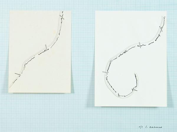 Luciano Caruso : L'amour de l'amour ou l'amour de la philo/sophie 1982 - Cartella contenente opera su carta tecnica mista con applicazione di cm. 29,5x42 - Asta Arte Moderna e Contemporanea, '800 e'900 - Fabiani Arte