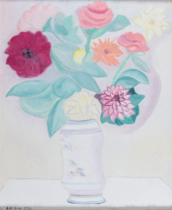 Giuseppe Cesetti - Vaso di fiori e zinie