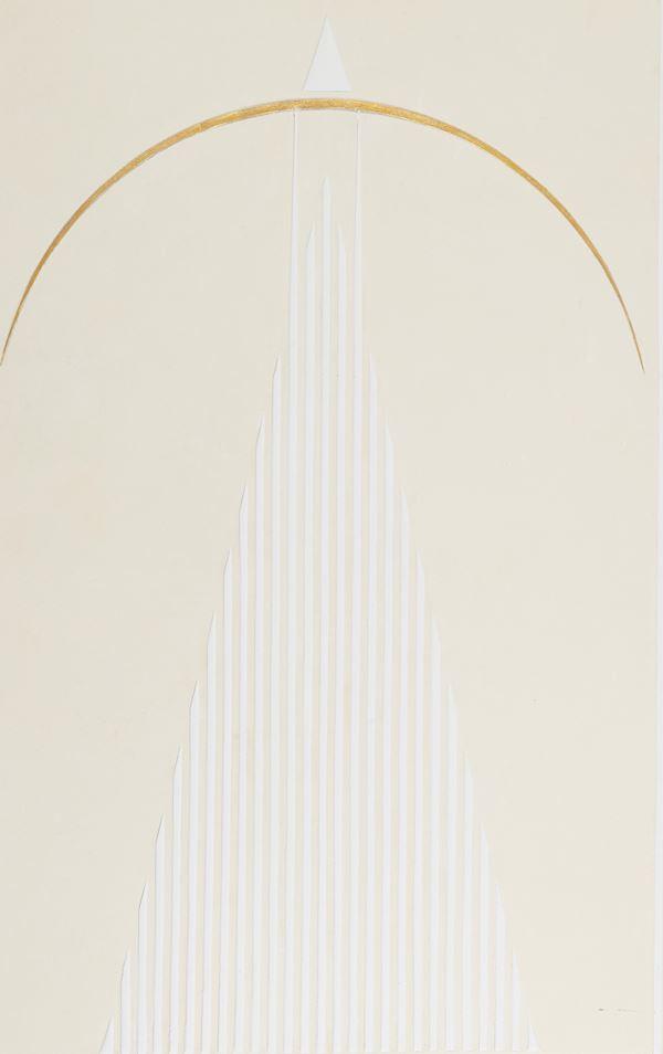 Elio Marchegiani - Grammatura di colore - Struttura con arco d'oro k 24