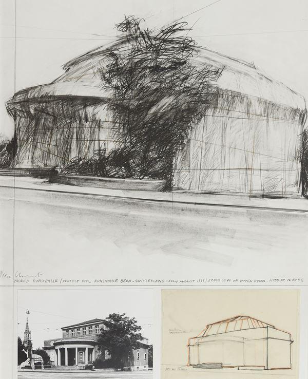 Christo : Wrapped kunsthalle bern project 1972 - Serigrafia, collage di foto e stampa  [..]