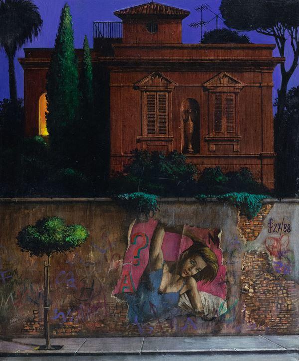 Sergio Ceccotti - Notturno romano con manifesto