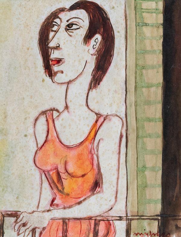 Giuseppe Migneco - Donna in terrazza